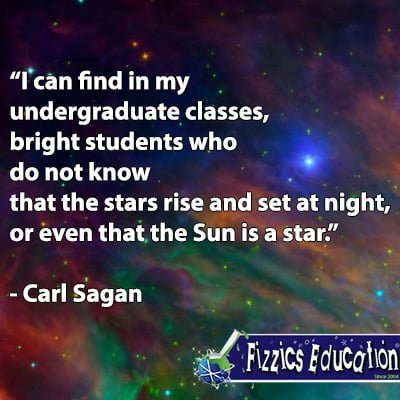 'I can find in my undergraduate classes, bright students who do not know that the stars rise and set at night, or even that the Sun is a star.' Carl Sagan