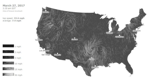 Animated wind map of USA 27 March 2017
