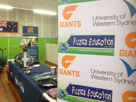Science with GWS Giants supprted by Fizzics and University of Western Sydney