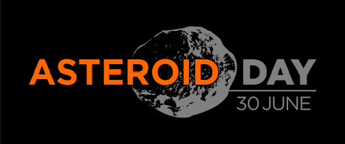 Black background orange and grey text asteroid day 30 June with shadow of asteroid in background