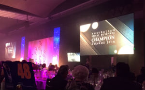The function room of the Westin Hotel at the Australian Small Business Champion Awards 2016