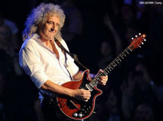 Brian May in a white shirt playing the guitar