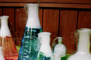 Coloured beakers with dry ice