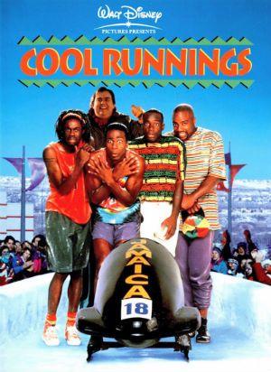 Cool Runnings poster 5 men in colourful shorts and tshirts standing behind a bobsled shivering on an ice track spectators cheering in the background