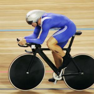 Cyclist track in purple suit white helmet black bike on yellow wood velodrome track