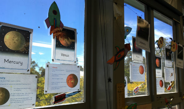 Fact sheets on planets done by primary students