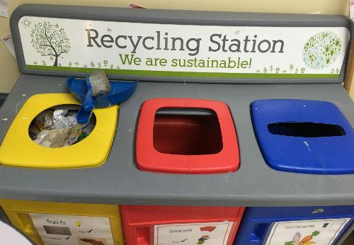Preschool recycling station