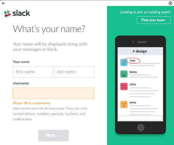 Put your name in Slack