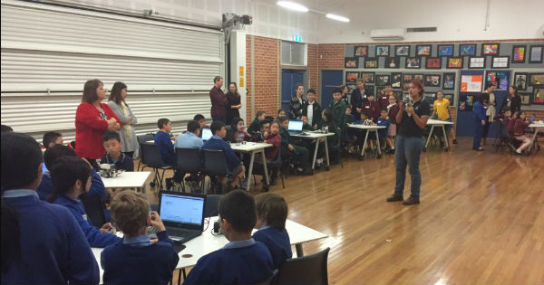 Robotics TPL at Condell Park Public School July 2017 - Holly speaking to the group