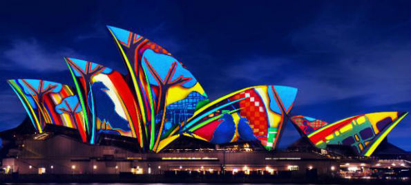 Colourful image projections on the Sydney Opera House during the Vivid Festival