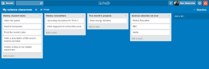 Trello lists for the science classroom