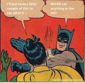 batman and robin lab safety meme - I'll just taste a little sample of this to see what it... NEVER eat anything in the lab!