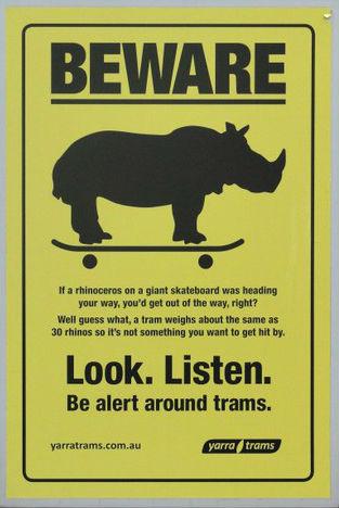 Yarra Tram rhino sign; Look Listen