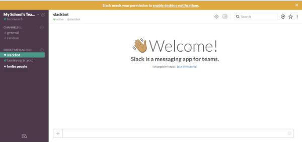 slack welcome screen