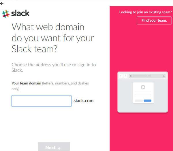 web domain for team slack channels