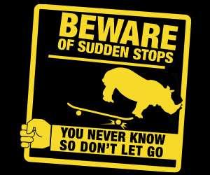 Yarra Tram rhino signage depicting inertia