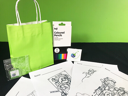 Birthday party bag with colouring materials