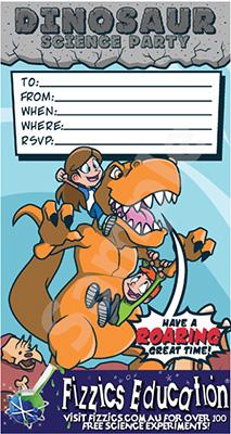 Fizzics dinosaur science party cartoon invitation