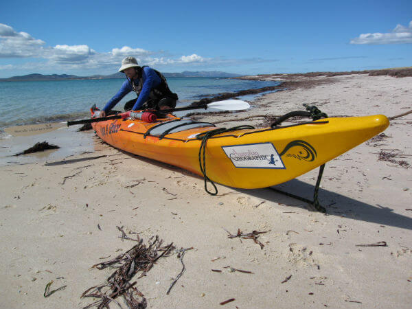 Andrew Hughes from the Bookend Trust preparing a sea kayak